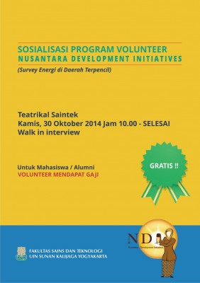 Sosialisasi Program Volunteer Nusantara Development Initiatives