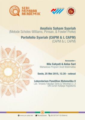 Analisis Saham Syariah ( Metode Scholes-Williams, Pimson, Fowler-Porke) & Portofolio Syariah (CAMP & L CAPM) - Seri Mimbar Akademik #32