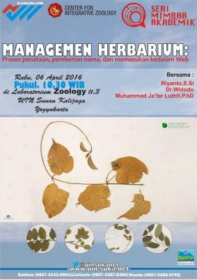 Manajemen Herbarium: Proses Pemberian Nama, Penataan, dan Memasukkan kedalam Web - Seri Mimbar Akademik #55