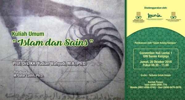 """Kuliah Umum Prodi Pendidikan Biologi UIN Sunan Kalijaga """"Islam dan Sains"""""""